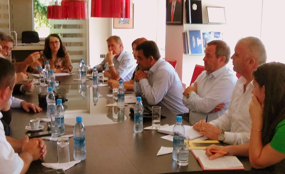 Image 2: Participants discuss the next steps for establishing a Lake Ohrid Watershed Management Plan (LOWMP) and Lake Ohrid Bilateral Committee in presence of Mayor of Pogradec, Mr.Eduard Kapri and his Team.